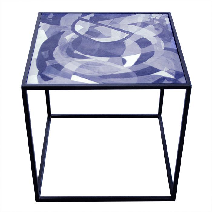 Stolik z blatem z nadrukiem z obrazu, wzór abstrakcyjny