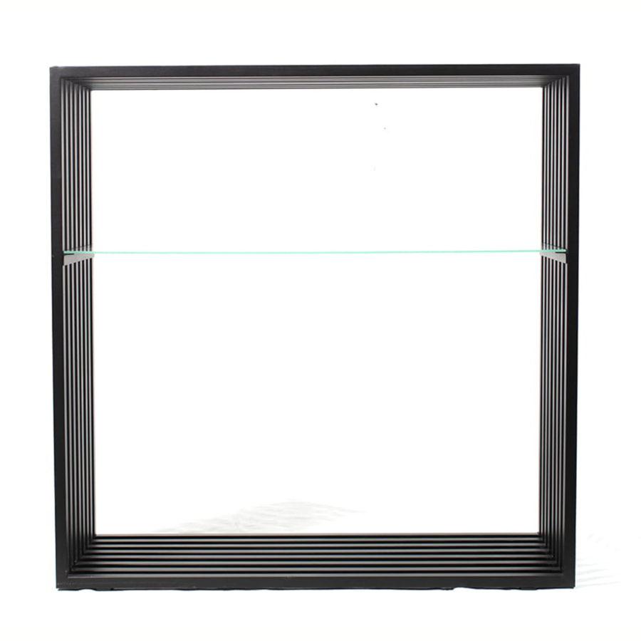 minimalistyczna konsola ze szklaną półką i blatem