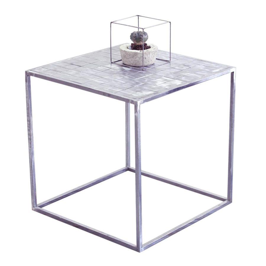 nowoczesny elegancki stolik kawowy metalowy srebrny