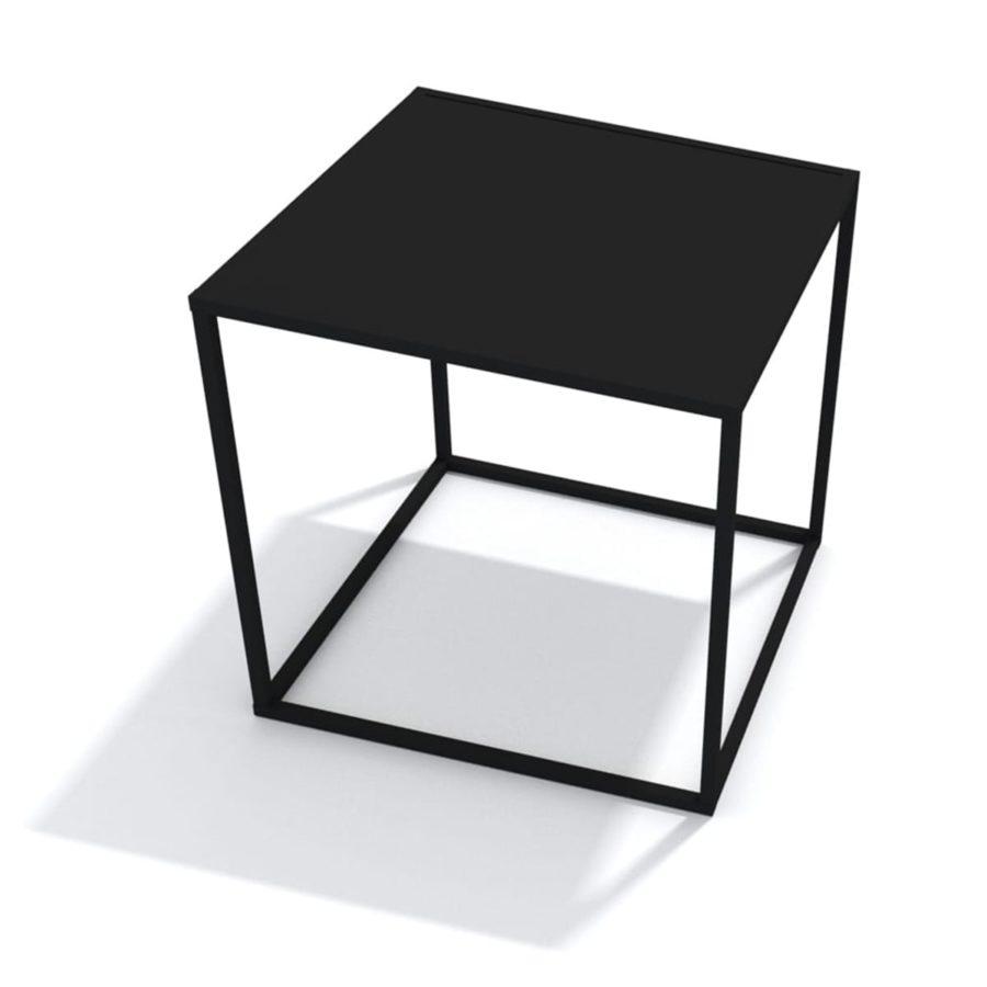 czarny stolik loftowy prosty kubiczny