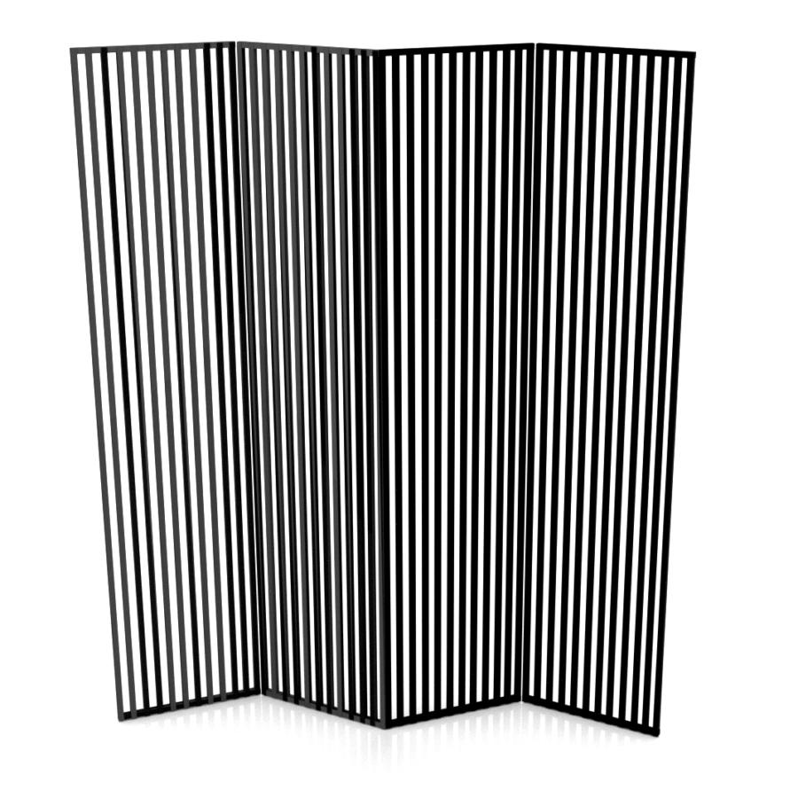 Parawan czteroskrzydłowy z motywem pionów. Stalowy minimalistyczny parawan.