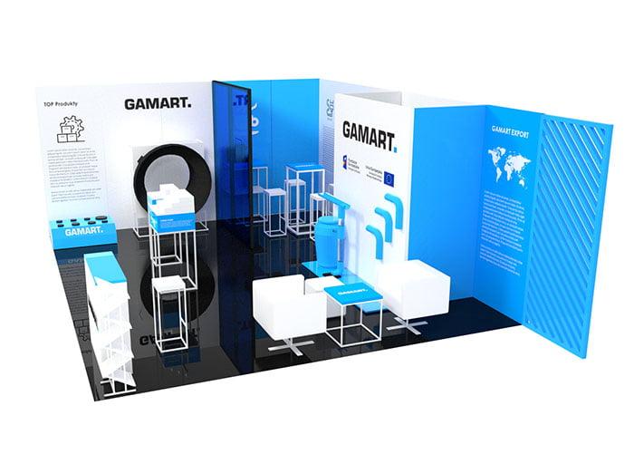 Stoisko wystawiennicze dla firmy Gamart z personalizowanymi ekspozytorami produktów