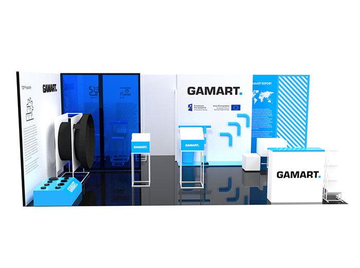 Projekt i wizualizacja stoiska na targi dla firmy Gamart