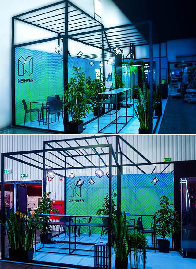 stoisko targowe loftowe nowoczesne czarno niebieskie