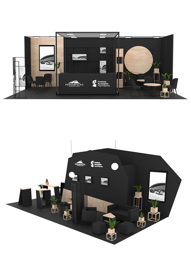 wizualizacja stoiska w czerni